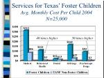 services for texas foster children avg monthly cost per child 2004 n 25 000