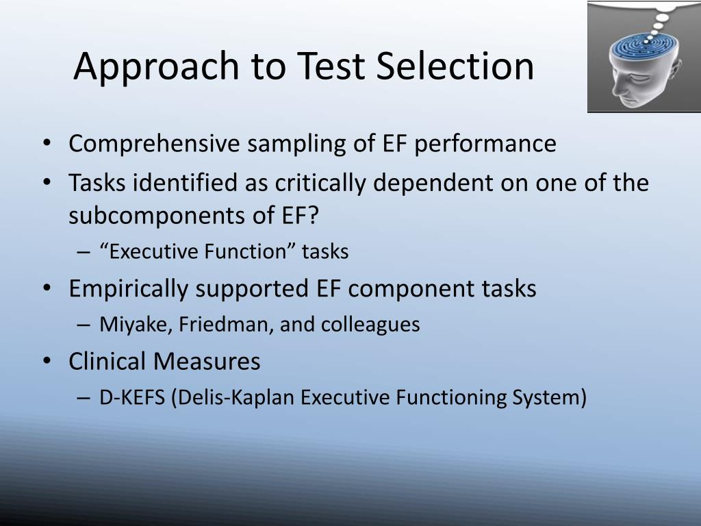 Approach to Test Selection