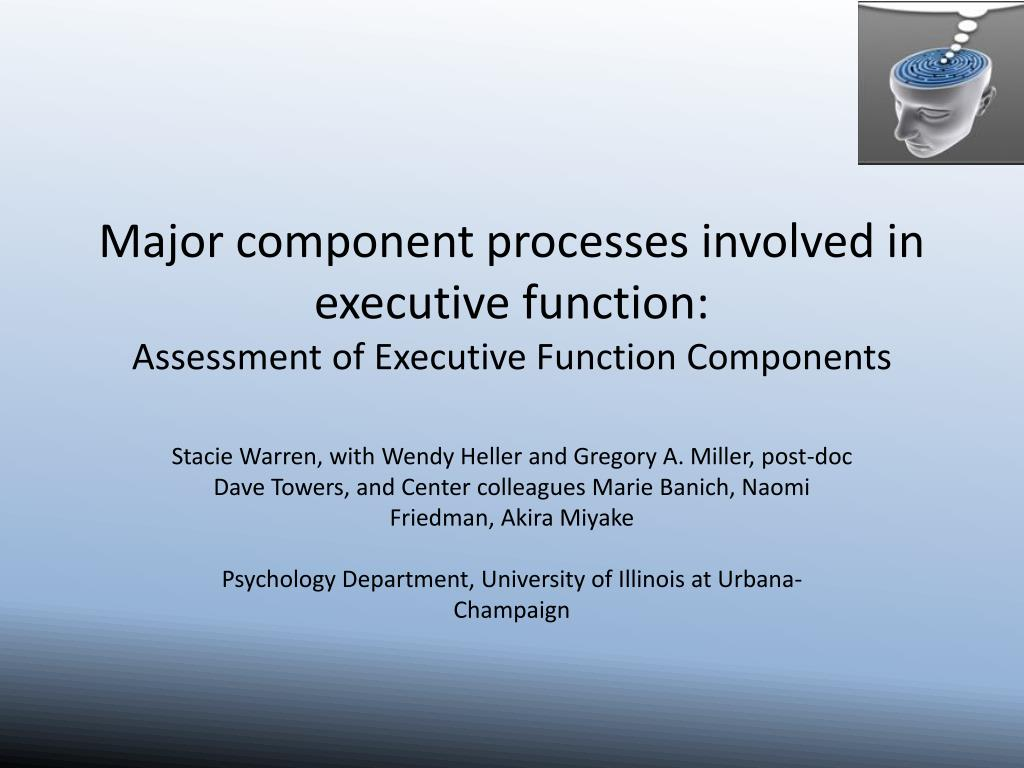 Major component processes involved in executive function: