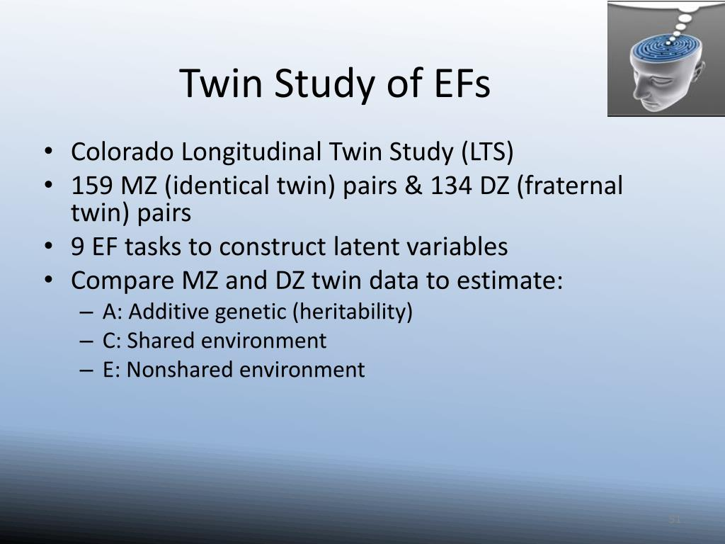 Twin Study of EFs