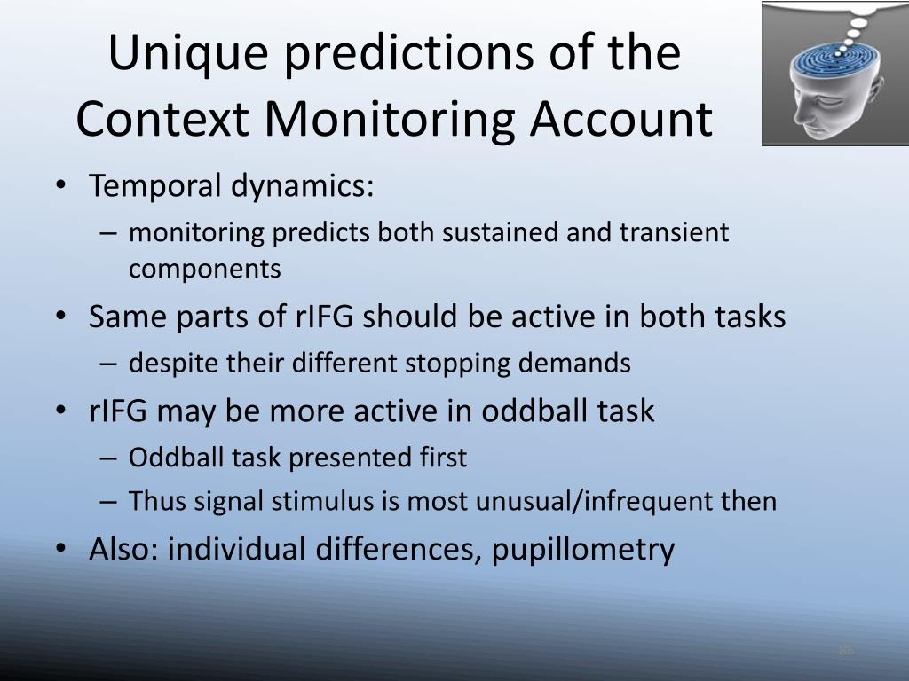 Unique predictions of the Context Monitoring Account