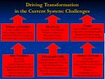 driving transformation in the current system challenges