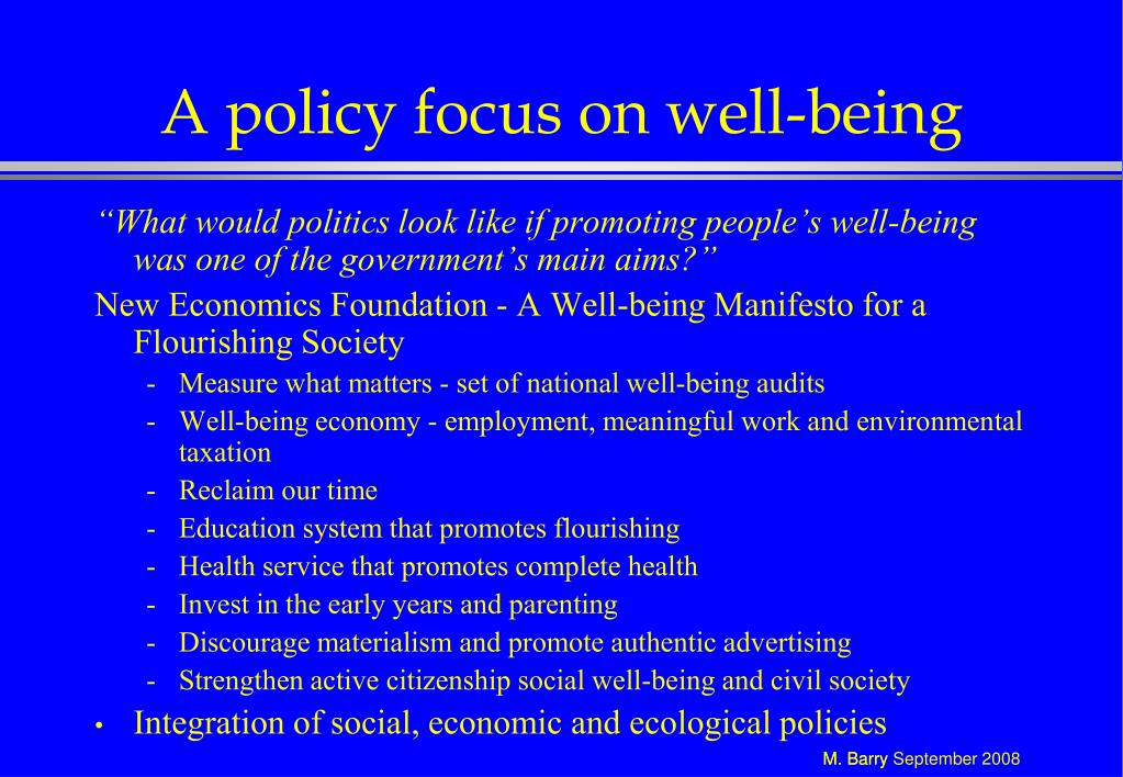 A policy focus on well-being