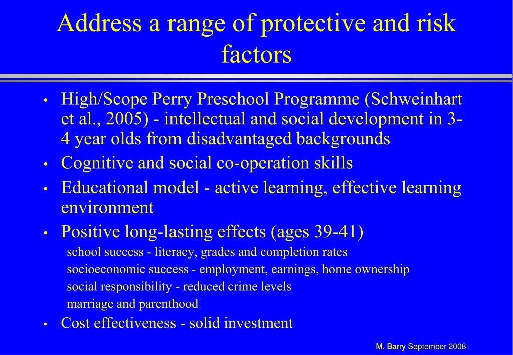 Address a range of protective and risk factors