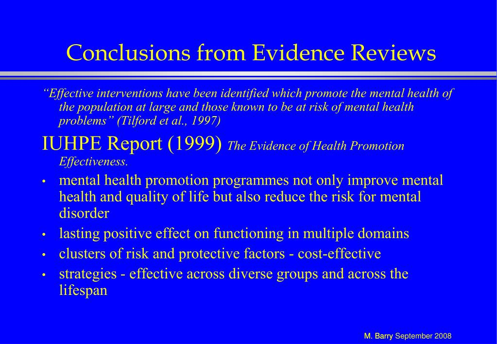 Conclusions from Evidence Reviews