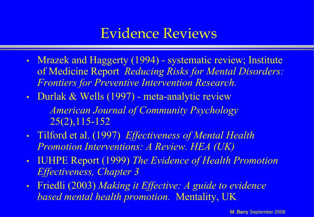 Evidence Reviews