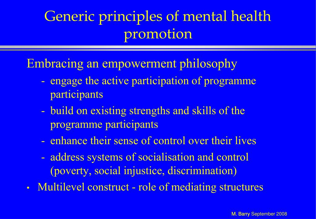 Generic principles of mental health promotion