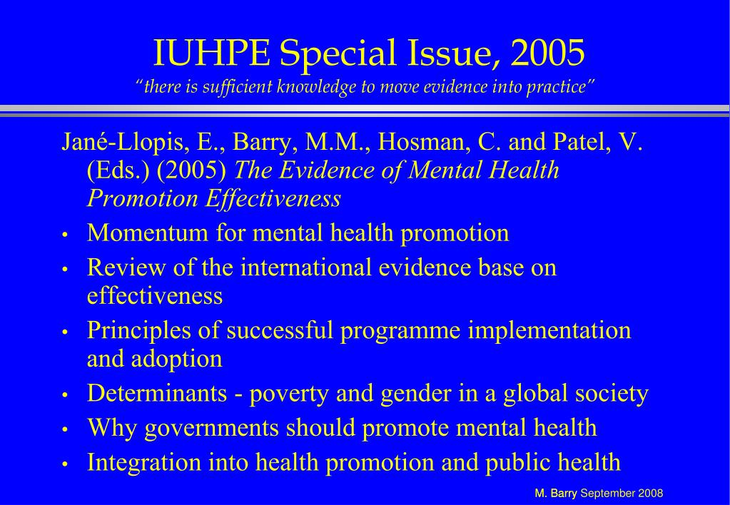 IUHPE Special Issue, 2005