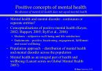 positive concepts of mental health the absence of mental ill health does not equal mental health