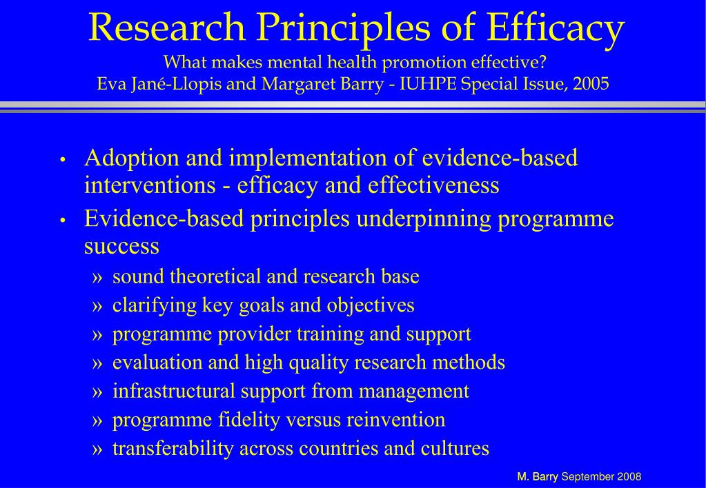 Research Principles of Efficacy