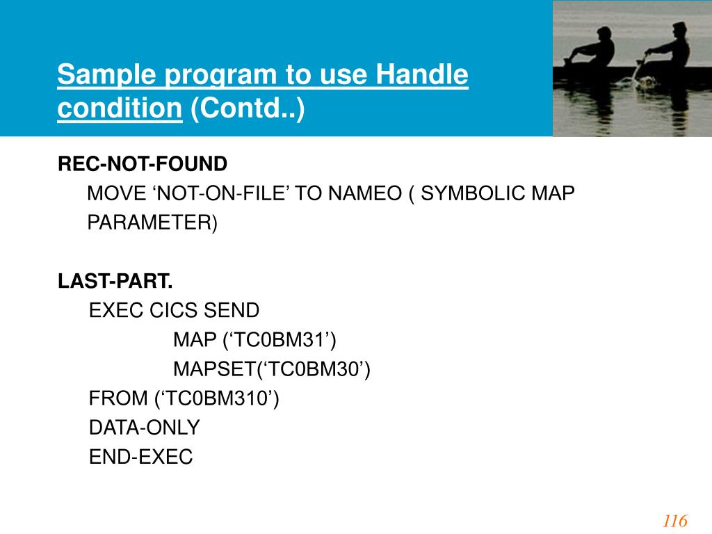 Sample program to use Handle  condition