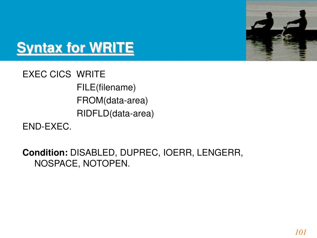 Syntax for WRITE