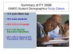 summary of fy 2008 simeo student demographics study cohort