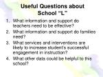 useful questions about school l