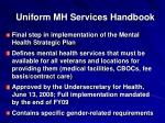 uniform mh services handbook