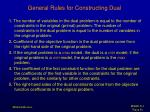 general rules for constructing dual