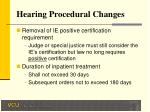 hearing procedural changes21