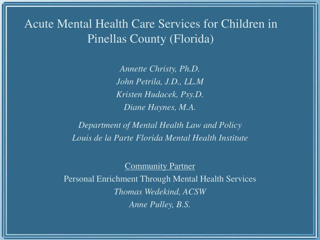 Acute Mental Health Care Services for Children in Pinellas County (Florida)