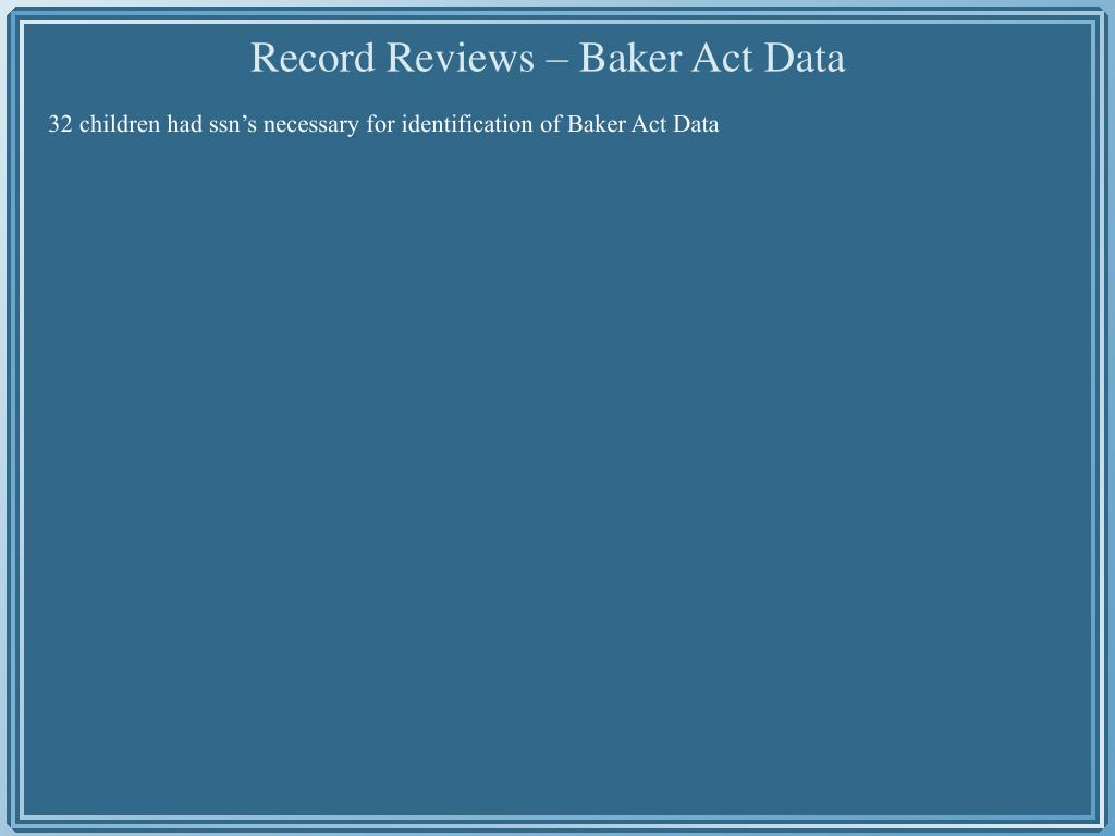 32 children had ssn's necessary for identification of Baker Act Data