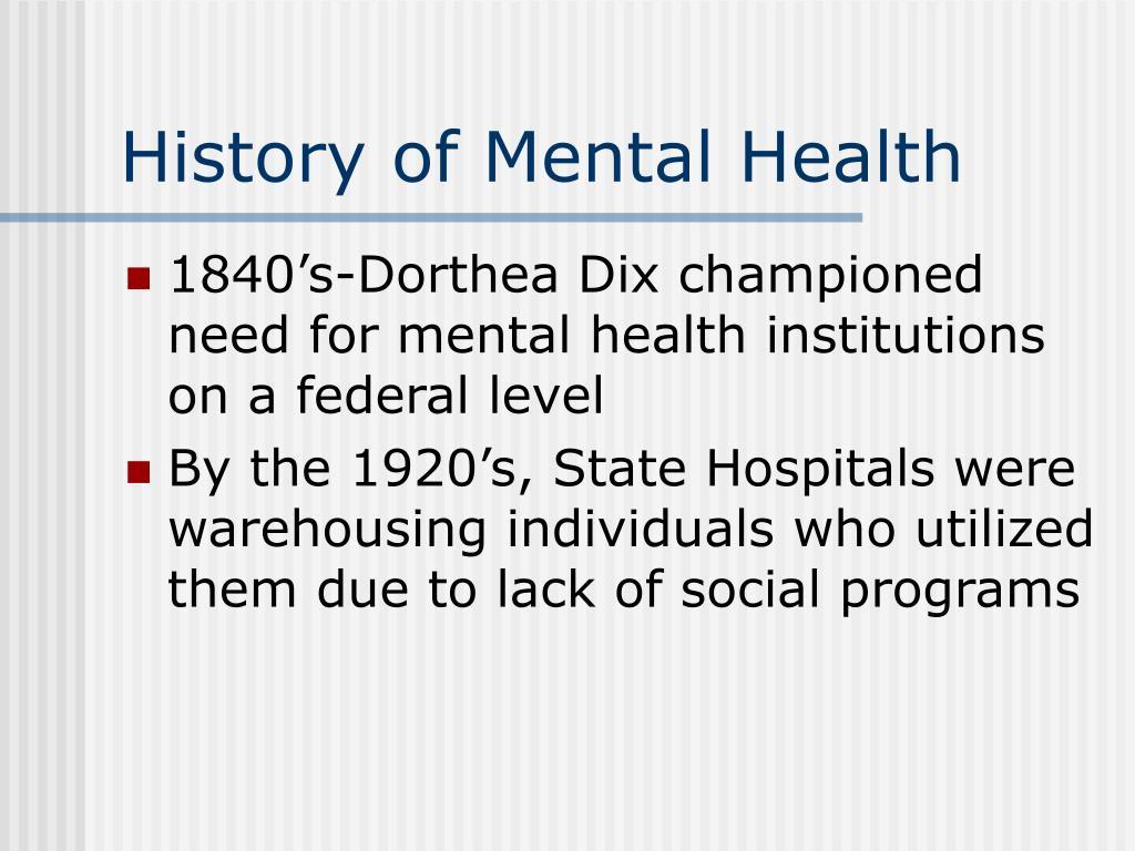 history of mental health l.