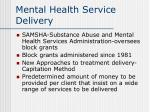 mental health service delivery