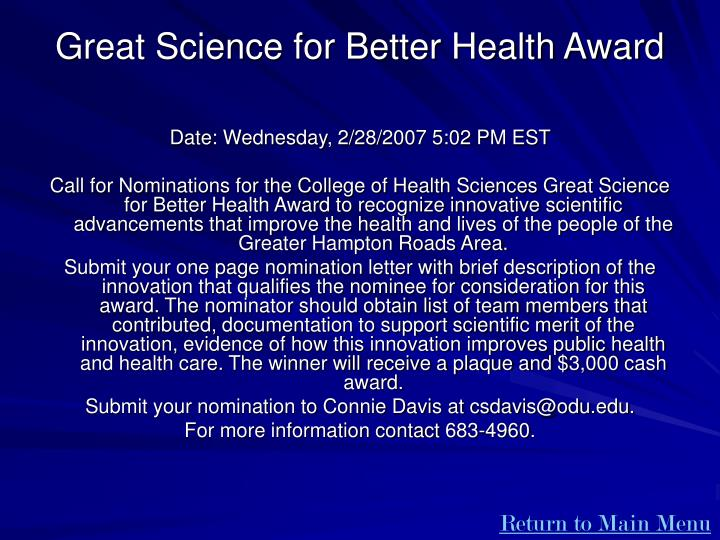 Great Science for Better Health Award