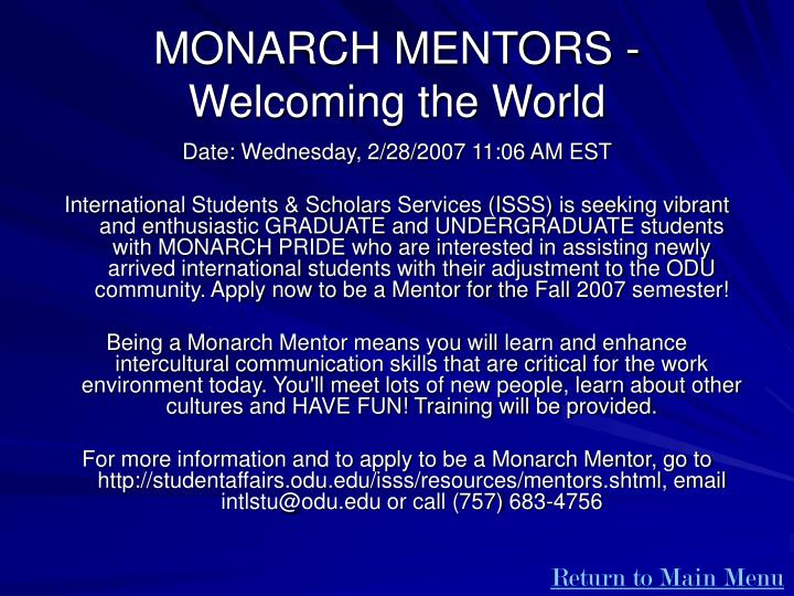 MONARCH MENTORS - Welcoming the World