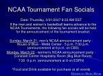 ncaa tournament fan socials