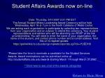 student affairs awards now on line