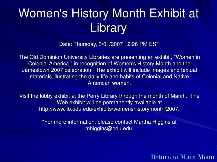 Women's History Month Exhibit at Library