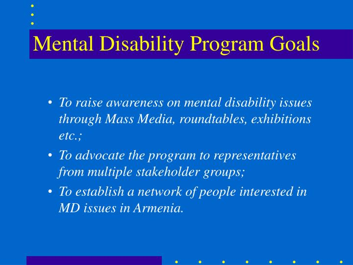 Mental disability program goals