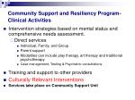 community support and resiliency program clinical activities