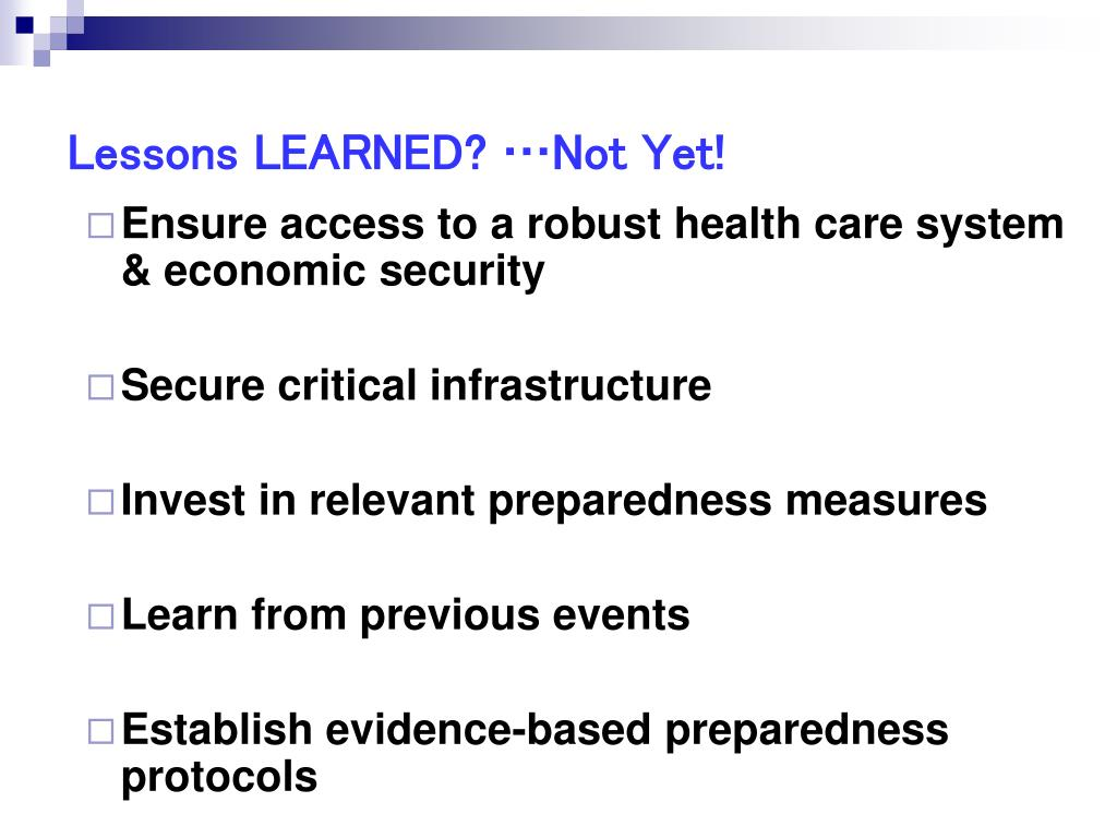 Lessons LEARNED? …Not Yet!
