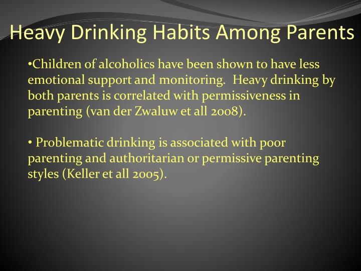 Heavy drinking habits among parents