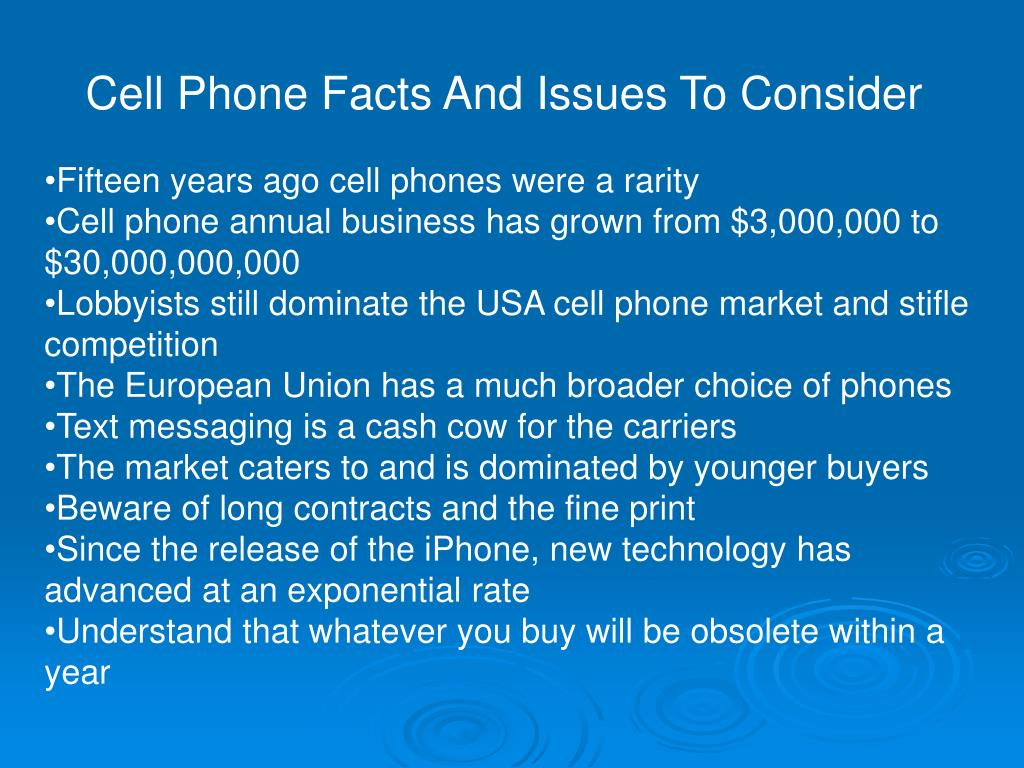 Cell Phone Facts And Issues To Consider