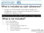 what is included as cash allowance