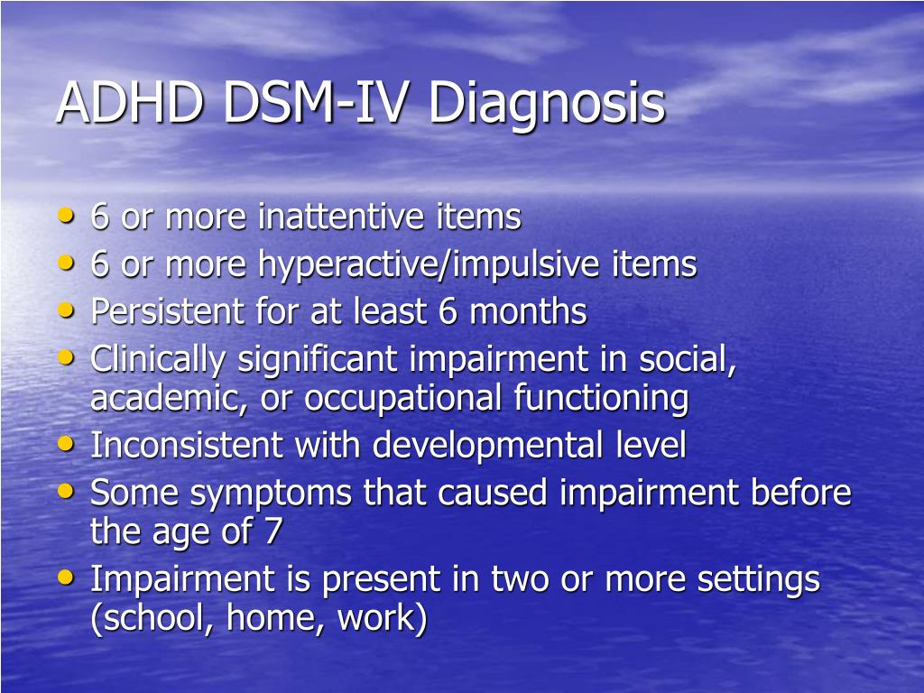 ADHD DSM-IV Diagnosis