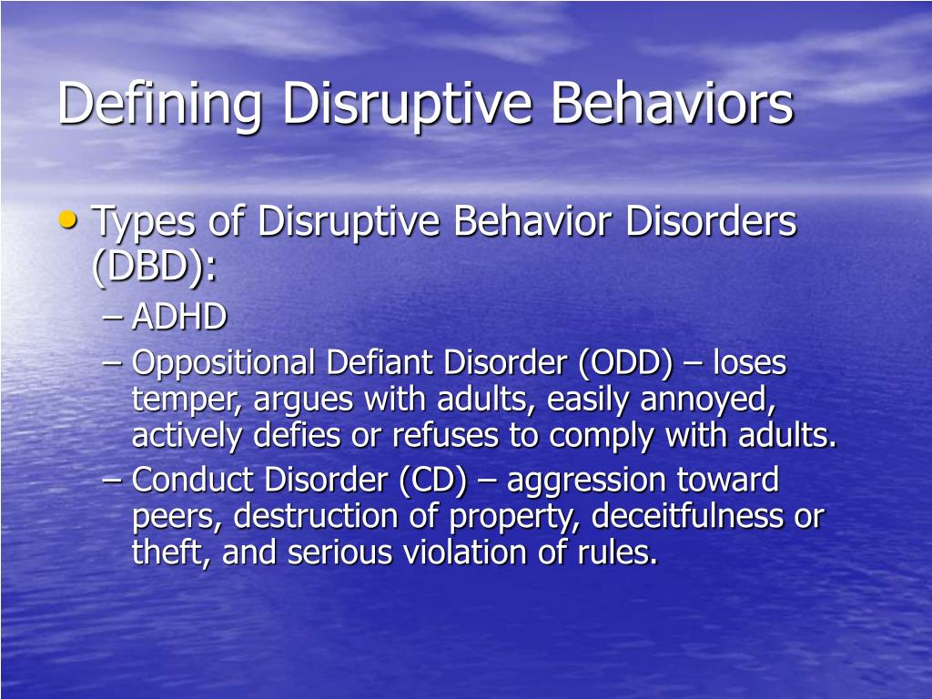 Defining Disruptive Behaviors