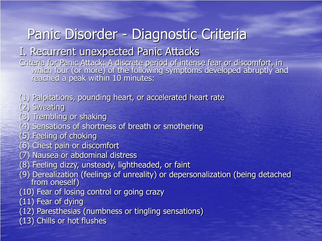 Panic Disorder - Diagnostic Criteria