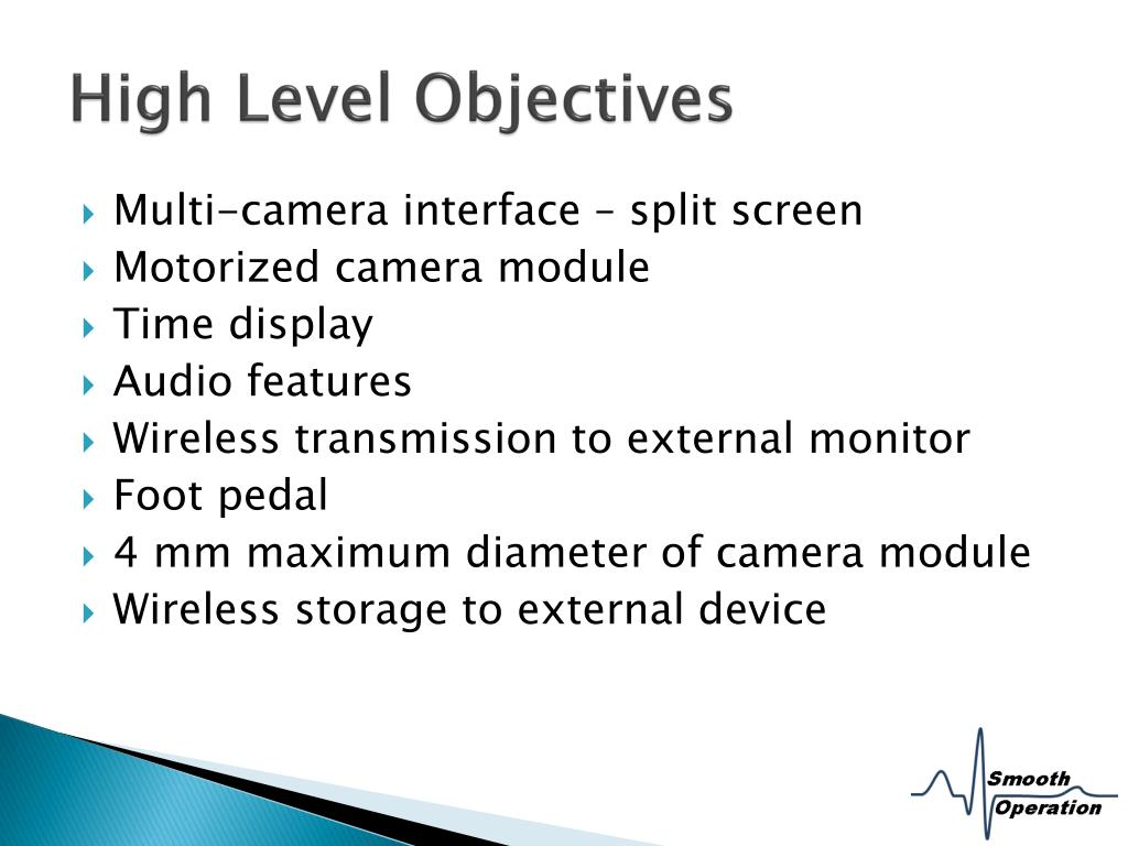 High Level Objectives