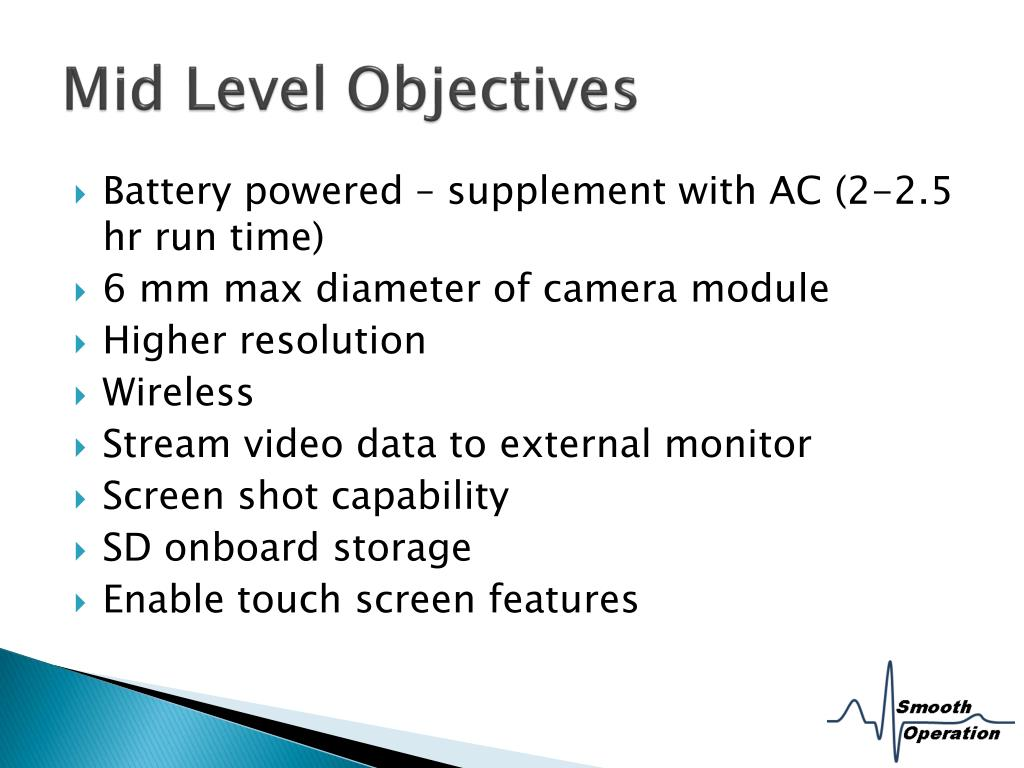Mid Level Objectives