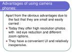 advantages of using camera phones