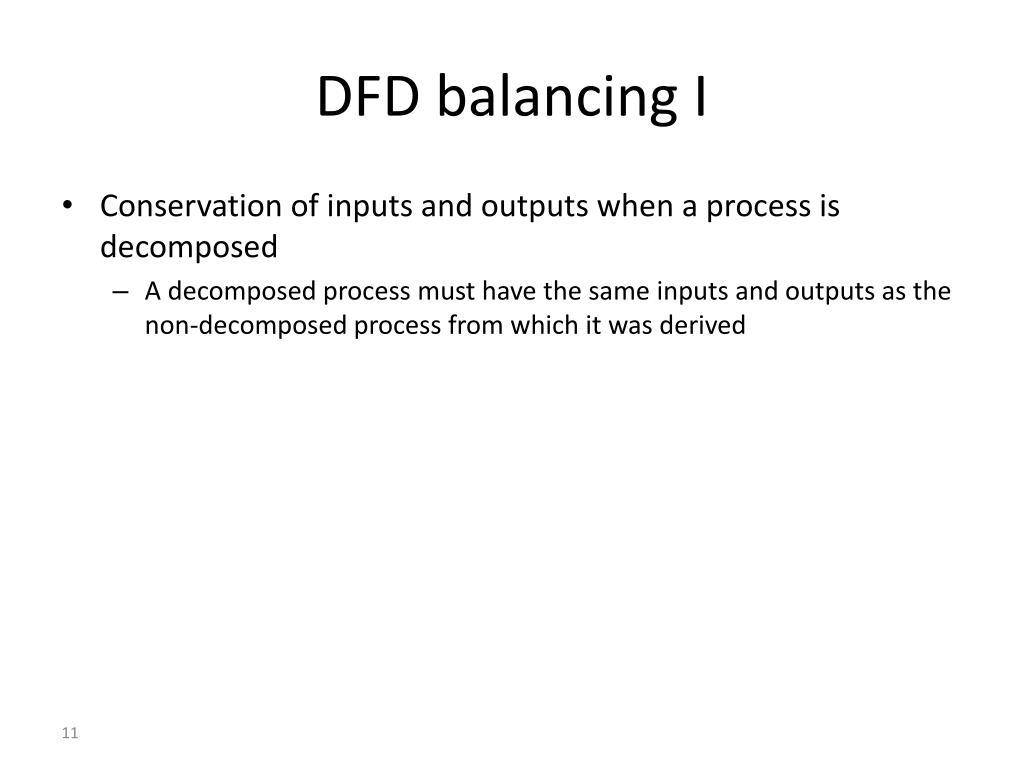 DFD balancing I