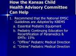 how the kansas child health advisory committee can help