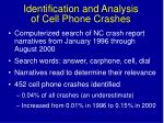 identification and analysis of cell phone crashes