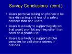 survey conclusions cont