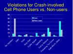 violations for crash involved cell phone users vs non users
