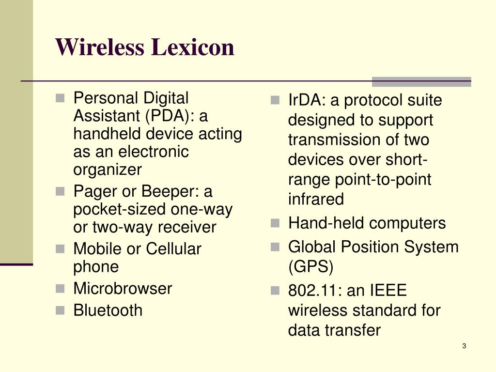 Personal Digital Assistant (PDA): a handheld device acting as an electronic organizer