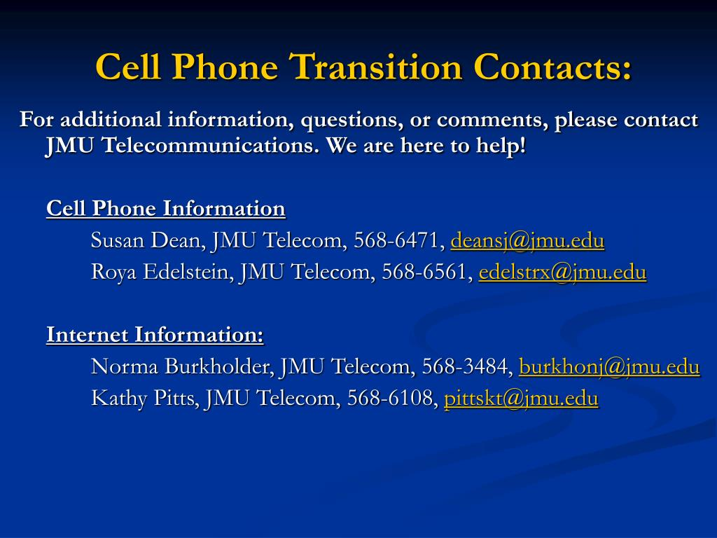 Cell Phone Transition Contacts: