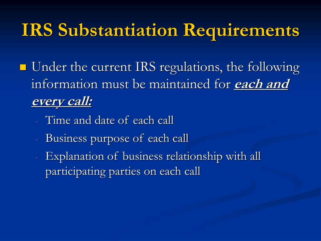 IRS Substantiation Requirements